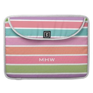 Colorful Stripes custom monogram MacBook sleeves MacBook Pro Sleeve