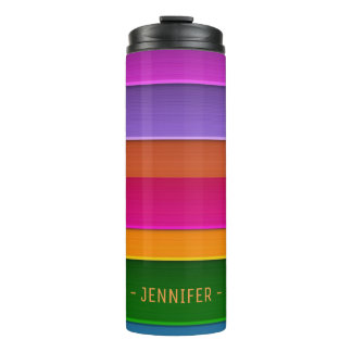 Colorful Stripes Custom Monogram Name Thermal Tumbler