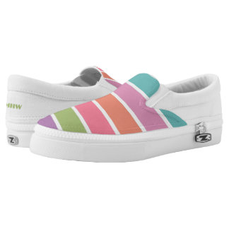 Colorful Stripes custom monogram shoes Printed Shoes