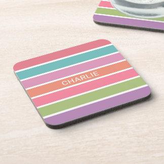 Colorful Stripes custom name coaster set