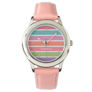 Colorful Stripes custom name watches