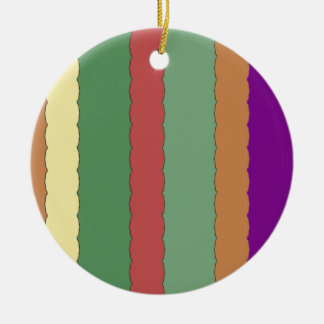 Colorful Stripes Double-Sided Ceramic Round Christmas Ornament