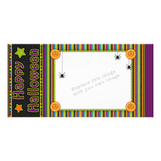 Colorful stripes - halloween colors and pattern photo card template