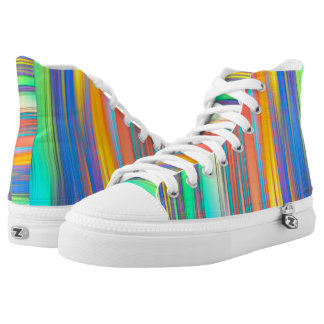 Colorful Stripes High Top Shoes Printed Shoes