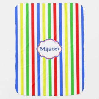 Colorful Stripes Monogram Baby Blanket