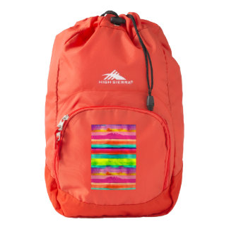 Colorful stripes on a red High Sierra backpack