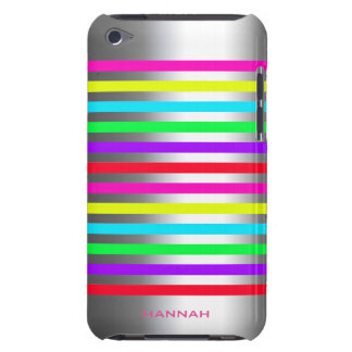 colorful stripes over silver with text iPod touch cases