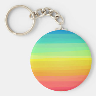 Colorful stripes pattern basic round button key ring