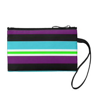 Colorful Stripes Pattern Purple Teal Blue Lime Coin Wallets
