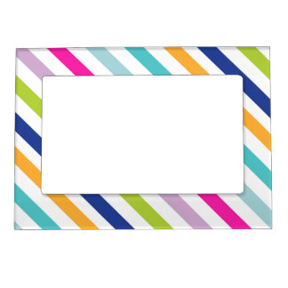Colorful Stripes - Personalized Photo Frame Magnet