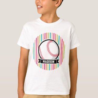 Colorful Stripes; Personalized Softball T-Shirt