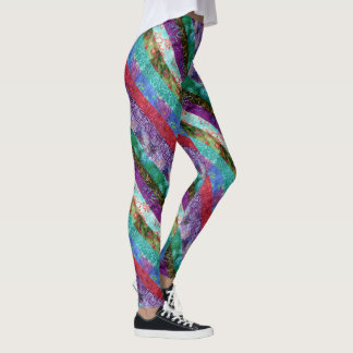 Colorful Stripes Quilt Design Leggings