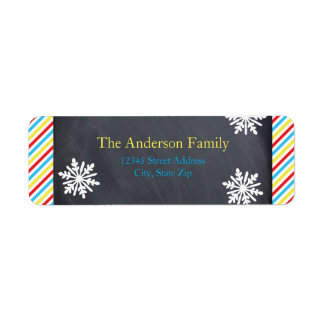 Colorful Stripes Snowflakes - Address Labels
