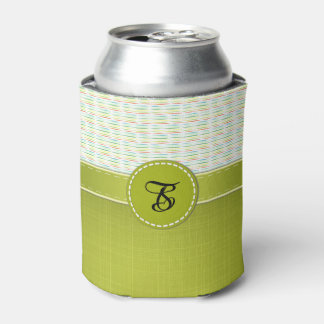 Colorful Stripes, Spring Green Monogram Can Cooler