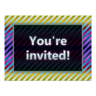 Colorful Stripes You're Invited Blue Dark Posters