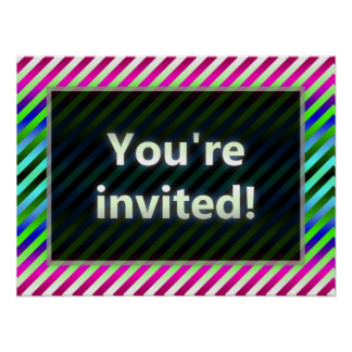 Colorful Stripes You're Invited Green Dark Print