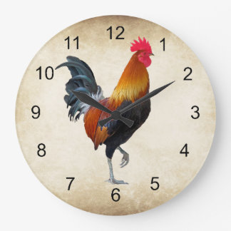 Colorful Strutting Rooster Design Wall Clock