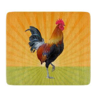Colorful Strutting Rooster Glass Cutting Board
