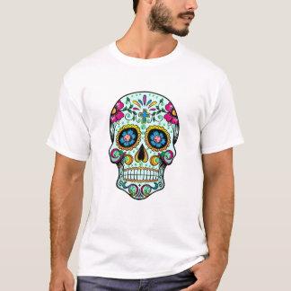 Colorful Sugar Floral Skull  Green Tint T-Shirt