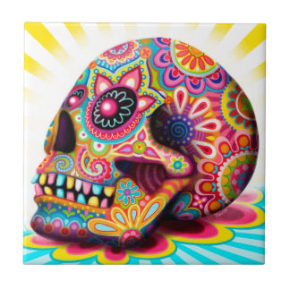 Colorful Sugar Skull Art Ceramic Tile