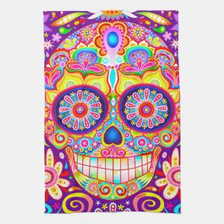 Colorful Sugar Skull Art Kitchen Towel