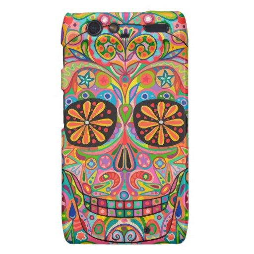 Colorful Sugar Skull Art Motorola Droid RAZR Case