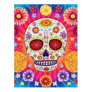 Colorful Sugar Skull Art Postcard