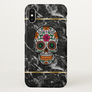 Colorful Sugar Skull & Black Marble Stone iPhone X Case