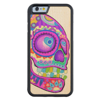 Colorful Sugar Skull Carved Maple iPhone 6 Bumper Case