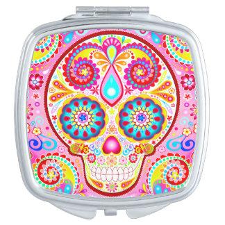 Colorful Sugar Skull Compact Mirror