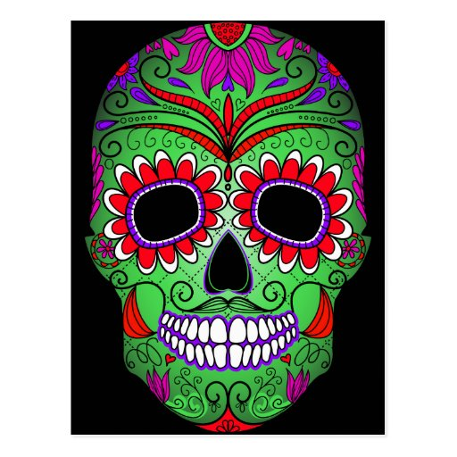 Colorful Sugar Skull Day of the Dead Postcards