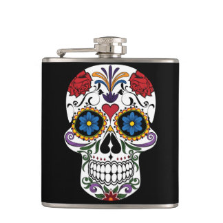 Colorful Sugar Skull Flask