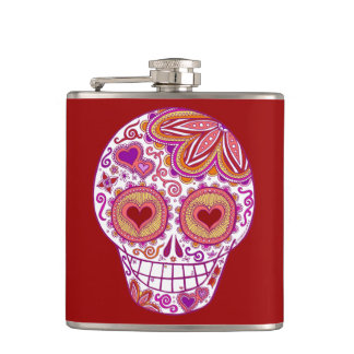 Colorful Sugar Skull Flask - Skull with Heart Eyes
