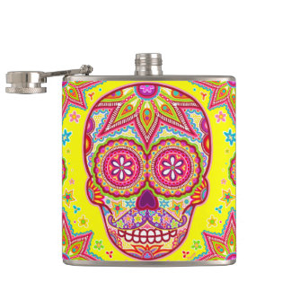 Colorful Sugar Skull Flask - Skull with Mustache