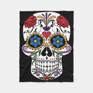 Colorful Sugar Skull Fleece Blanket