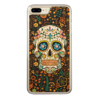 Colorful Sugar Skull Floral Background Carved iPhone 8 Plus/7 Plus Case