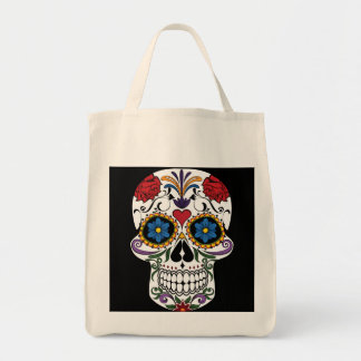 Colorful Sugar Skull Grocery Tote Bag