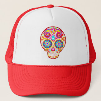 Colorful Sugar Skull Hat - Day of the Dead Art