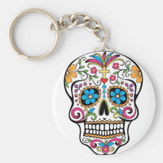 Colorful Sugar Skull Key Ring