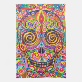 Colorful Sugar Skull Kitchen Towel