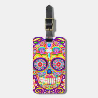 Colorful Sugar Skull Luggage Tag - Day of the Dead
