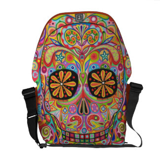 Colorful Sugar Skull Messenger Bag