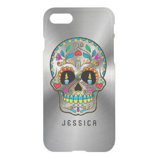 Colorful Sugar Skull Metallic Silver Background iPhone 8/7 Case