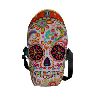 Colorful Sugar Skull Mini Messenger Bag