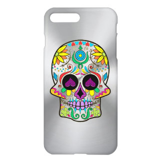 Colorful sugar skull on metallic gray background iPhone 8 plus/7 plus case