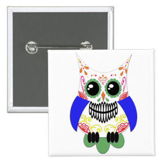 Colorful Sugar Skull Owl Button