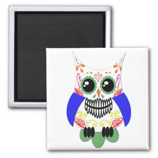 Colorful Sugar Skull Owl Magnet