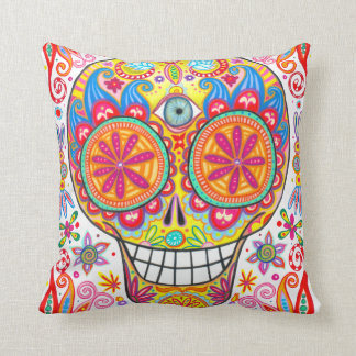 Colorful Sugar Skull Pillow