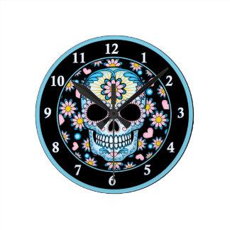 Colorful Sugar Skull Round Clock