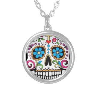 Colorful Sugar Skull Round Pendant Necklace